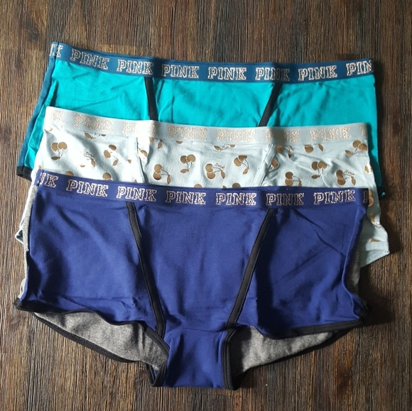 New Victoria/'s Secret PINK Logo Boyshort Booty Short Underwear Venetian Teal  M